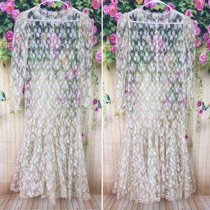 Vintage Ivory Lace Wedding Bridal Dress